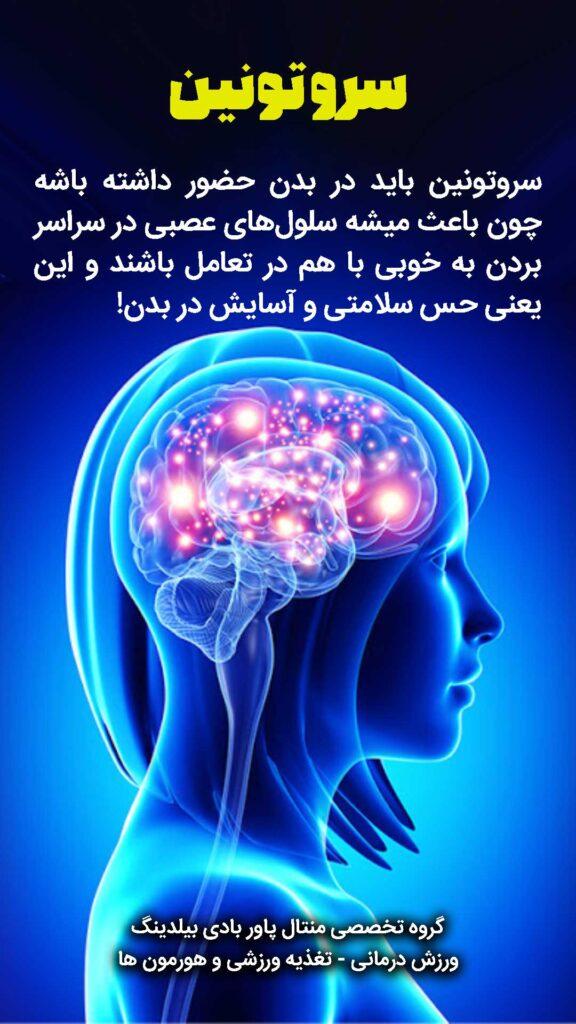 سروتونین باید در بدن حضور داشته باشه چون باعث میشه سلولهای عصبی در سراسر بردن به خوبی با هم در تعامل باشند و این یعنی حس سلامتی و آسایش در بدن!